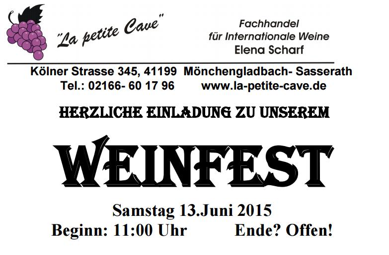 LA PETITE CAVE veranstaltet Weinfest am 13.06.2015