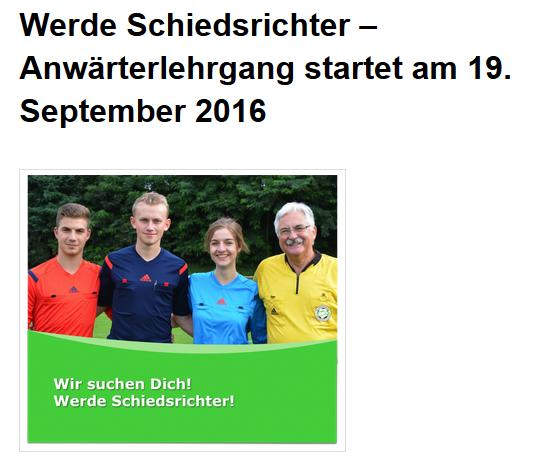 Schiedsrichter gesucht, Lehrgang ab 19.09.2016