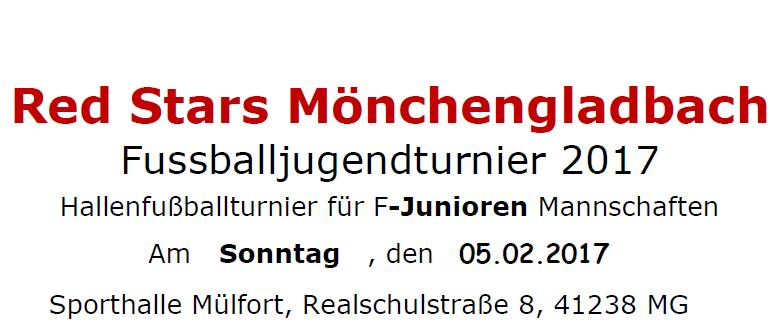 RED STARS F- und E- Jugend-Hallenfußballturnier am 05.02.2017