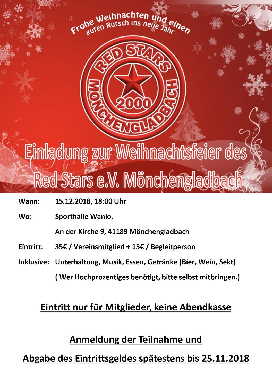 Weihnachtsfeier Mönchengladbach.Weihnachtsfeier 2018 Für Vereinsmitglieder Red Stars Mönchengladbach