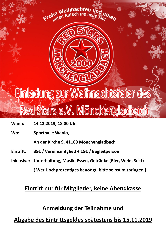 Weihnachtsfeier 2019 für Vereinsmitglieder